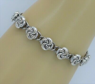 rare Antique Victorian Heavy Silver plate link 'Love Knot' Bracelet layer it up