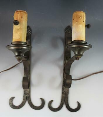 Pair Arts & Crafts Cast Iron Hand Hammered Sconces Electrified