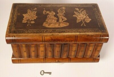 Antique Wood Sorrento Ware Puzzle Box , Secret Lock And Compartment