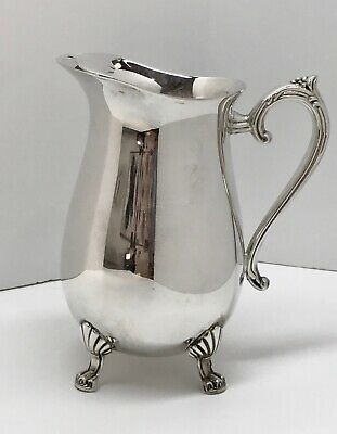 Vintage Silver Plate Footed Beverage Water Pitcher with Ice Lip ~ Indonesia