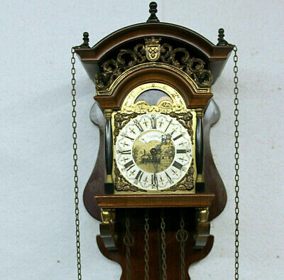 Old Wall Clock vintage Dutch Friesian Schippertje Saarlande * With Moonphase *
