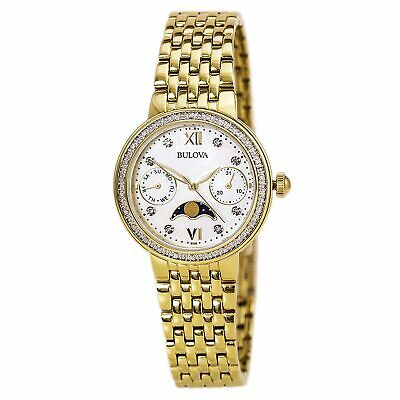 Bulova Women's Quartz Diamond Accent Moon Phase Gold Tone 31.5mm Watch 98R224
