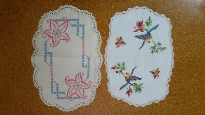 2 Gorgeous Vintage Doilies – Hand Embroidery – Crochet and lace borders