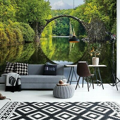 Tranquil Lake Bridge Water Reflection Photo Wall Mural Fleece Easy-Install Paper