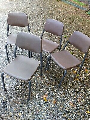 Children's Metal Tubular Vintage Stacking School Chairs x4