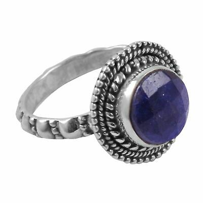 faceted-Lapis Lazuli Solid 925 Sterling Silver Ring  Jewelry Size-8 AR-3977