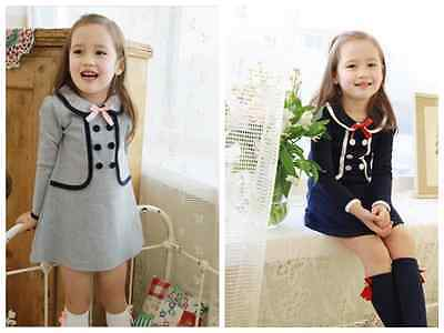 Fashion Toddler Baby Girls double-breasted dress Kids Girl autumn clothes
