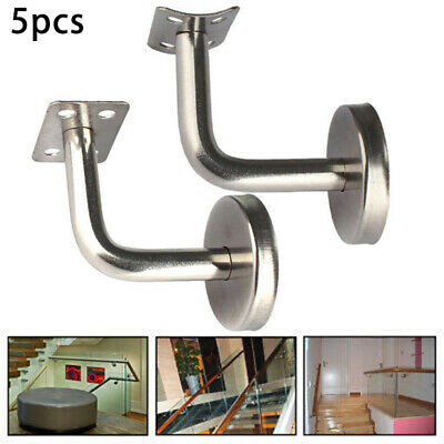 Stainless Brushed Steel Metal Banister Stair Handrail Brackets 5pcs Set Outdoor