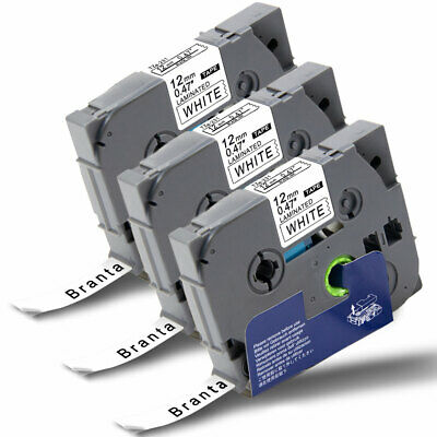 3PK Label Tapes TZe-231 12mm Black/White for Brother P-Touch PT-1890C D200 D600
