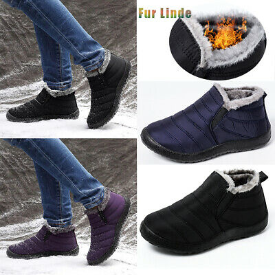 Men's Winter Snow Ankle Boots Slippers Fur Lined Outdoor Waterproof Warm Shoes