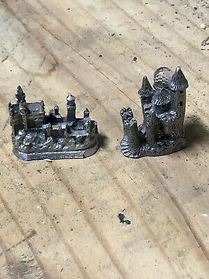 Lot Of Two Pewter Castles With Crystals - Mythology And Fantasy Preowned