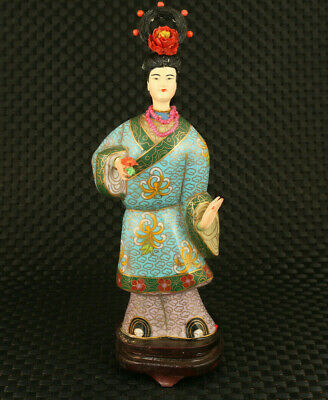 Chinese rare old cloisonne hand painting belle figure statue fine decoration