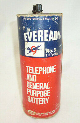 VINTAGE EVEREADY 9 LIVES DRY CELL 1.5V BATTERY extra big size for telephone etc