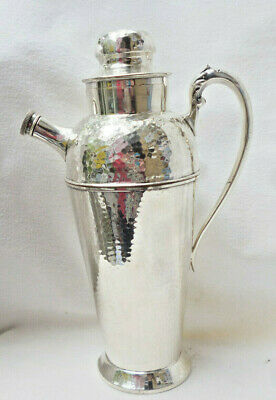 VINTAGE SILVER on COPPER COCKTAIL SHAKER MIXER JUG with POURER - 31cm high - vgc