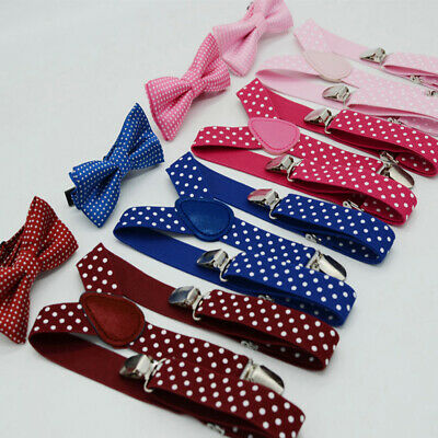 Children Y Back Strap Suspender Bow Tie Set Polka Dots Elastic Clip On Non Slip