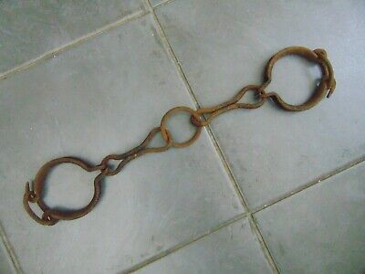 ANTIQUE 19th CENTURY FRENCH WROUGHT IRON PRISONER LEG IRONS SHACKLES