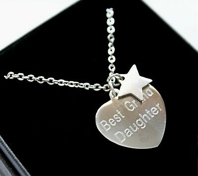 ENGRAVED Necklace Silver Star Charm Personalised Jewellery Christmas Gifts