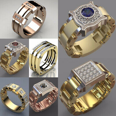 Fashion Rings for Men/Women 925 Silver,Gold,Rose Gold Cubic Zircon Size 6-10