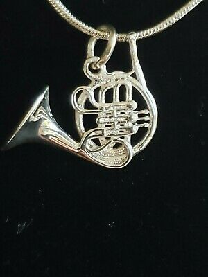 Sterling Silver French Horn Pendant Includes Italian Snake Chain