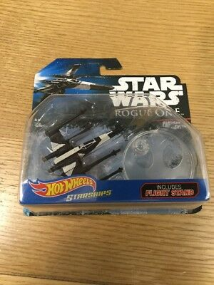 NEW Hot Wheels Starships Star Wars Rogue One Partisan X-Wing Fighter + Stand