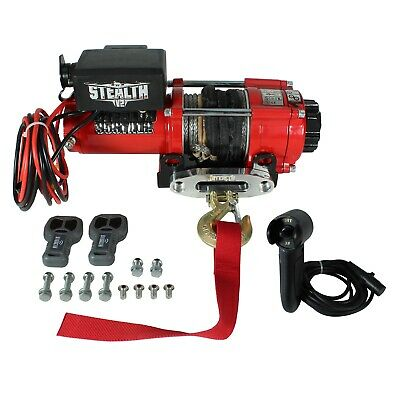 Stealth 3500lb 12v Electric Winch with Synthetic Rope & Wired Control