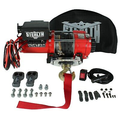 Stealth 3500lb 12v Electric Winch with Synthetic Rope & Winch Cover
