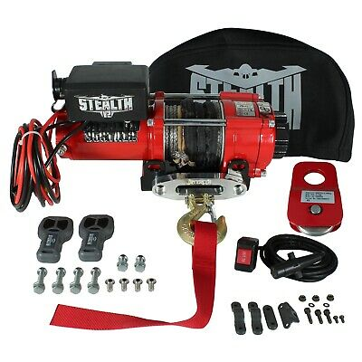 Stealth 3500lb 12v Electric Winch with Synthetic Rope, Pulley Block & Cover