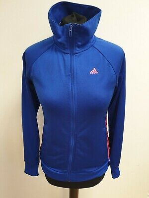 Ff305 Girls Adidas Blue Pink Stripes Full Zip Tracksuit Jacket Age 13-14 Yrs