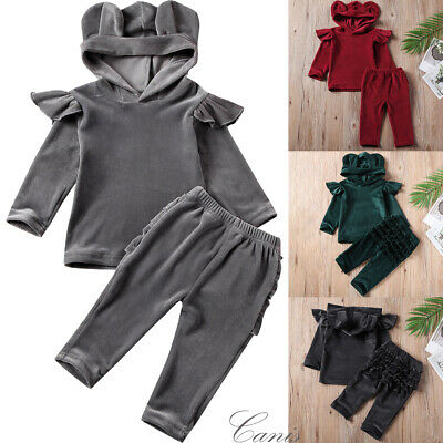 Infant Kids Baby Girl Boy Gold Velvet Hooded Tops Ruffle Pants Outfit Clothes UK