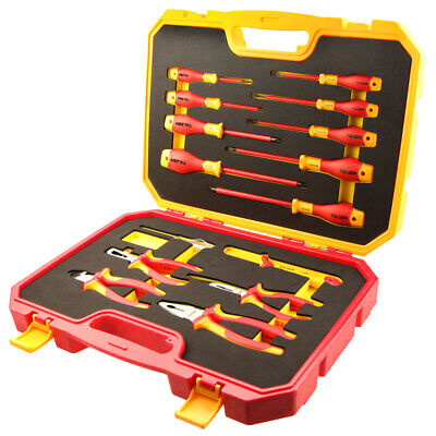 Insulated 15 Pcs Tool Set 1000V Electrical Screwdrivers, Pliers & Voltage Tester