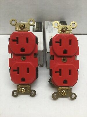 LEVITON 5362-R Duplex Receptacle 2 Pole 3 Wire, Self Grounding (Lot of 2)