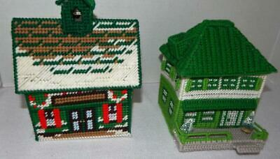 2 Vintage Handmade Plastic Canvas Needlepoint Completed Houses - School House++