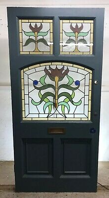 Grand Large Stained Glass Edwardian Front Door Period Old Reclaimed Antique Wood