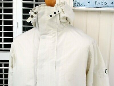 """Fred Perry Ivory Fleece Lined Hooded Sailing Jacket - 46"""" - Scooter Terraces"""