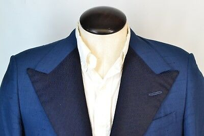 H. Hunstman & Sons Savile Row Blue Silk Embroidered Lapel Dinner Jacket Sz 40R