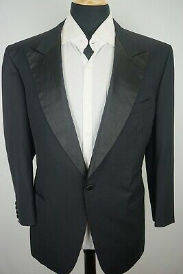 Brioni Peak Lapel One Button Black Textured Wool Tuxedo Dinner Jacket Sz 46