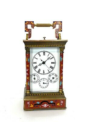 French Style Floral Red Enamel Brass 8 Day Repeater Calendar Carriage Clock