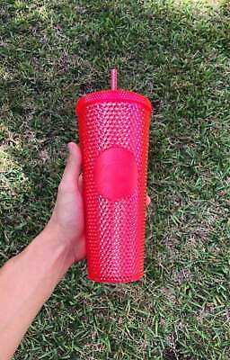 STARBUCKS 2019 Neon Pink Studded Cold Cup Tumbler WINTER HOLIDAY EDITION 24 oz