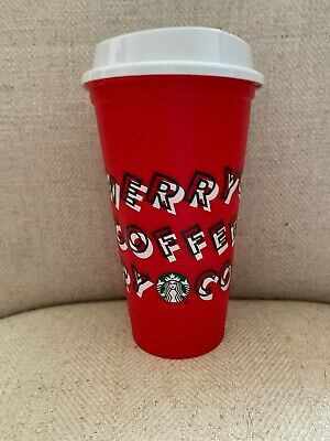 Starbucks 2019 Red Reusable Cup 16oz MERRY COFFEE Christmas last ones