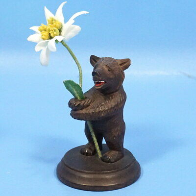 Antique Swiss Black Forest Wood Carving Standing BEAR & Flower Brienz c1900