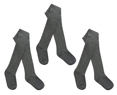 I.L.C.K Girls 3 Pairs Back To School Plain Cotton Rich Tights, Grey, 7-8 Years