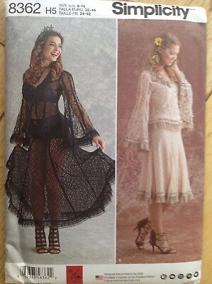 S8362 Simplicity Sewing Pattern 8362 Misses/' Lace Blouse Skirt Flared Sleeves