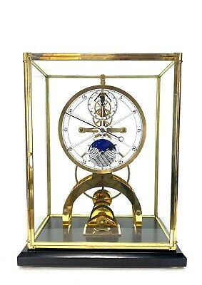 24K Astronomical Porcelain Dial 8 Day Fusee Chain Skeleton Clock with Moon Dial