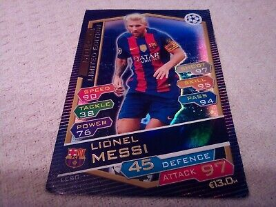Match Attax 2016/17 Ucl Lionel Messi🌟Gold🌟Limited Edition Used Cond
