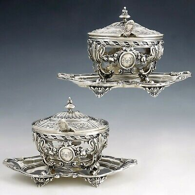 Pair Antique French Sterling Silver Mustard Pots, Louis XVI/Rococo Decoration