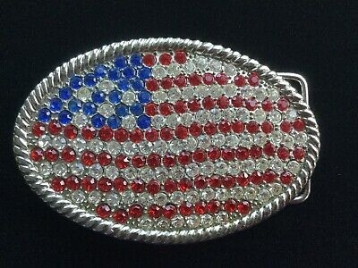 Red White Blue Rhinestone Patriotic American Flag Oval Belt Buckle