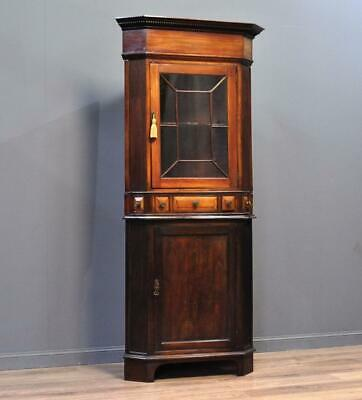Attractive Tall Antique Victorian Mahogany Glazed Corner Cabinet, Base Cupboard