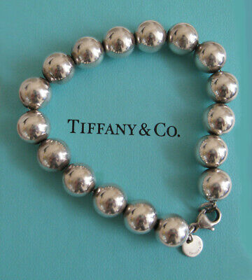 "AUTHENTIC TIFFANY & CO STERLING SILVER 10 mm BEAD BALL BRACELET 7.25""  W/ BOX"