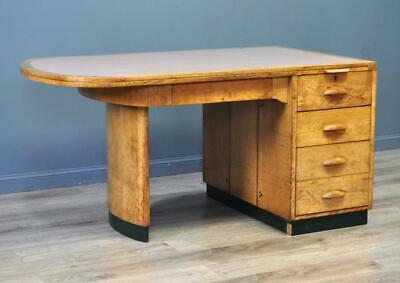 Attractive Large Art Deco Oak Partners Writing Office Desk With Curved Top