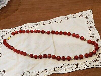 """Vintage Hand Carved Cinnabar Red Bead Necklace  Silver Clasp Chinese Antique 34"""""""